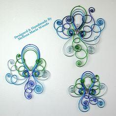 Aqua Marine Octopus Set- Handmade wall hangings by melissawoods on Etsy