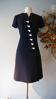 vintage dress / 1960s Patullo Jo-Copeland silk faille dress with buttons.