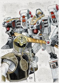 White Ranger - Digital Painting - Fanart based on the television series Power Rangers - Tools used: Paint Tool Sai / Photoshop - Digital Art by Diego GoN / GoN_Illustrator Power Rangers Tattoo, Power Rangers Fan Art, Power Rangers Series, Mighty Morphin Power Rangers, Desenho Do Power Rangers, Zoids, Ranger Armor, Power Rangers Megazord, Power Rengers