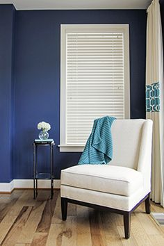 """""""Since shades and blinds are usually a one time purchase, by keeping those in whites or very neutral colors that work with your trim color, you can change all the other things in the room without competing with the window treatments,"""" says Mike Sills, Next Day Blinds Fairfax, Virginia store manager."""