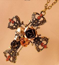 gold cross with rose and skull NECKLACE - jewelry - fashion accessories