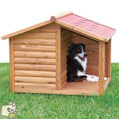 Rondin de sapin pour cette niche bois style chalet de montagne avec auvent pour abriter le chien
