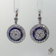 Antique Art Deco Platinum Diamond & Sapphire Earrings – Rozental Antiques