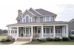 This has a wonderful floor plan for a coastal house with lots of windows. Eplans Farmhouse House Plan - Country Perfection - 2112 Square Feet and 3 Bedrooms from Eplans - House Plan Code Style At Home, Country Style House Plans, Farmhouse Plans, Country Farmhouse, Modern Farmhouse, Modern Country, Country Homes, French Country, Farmhouse Interior