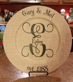 Personalized burlap charger plate by 3southerngrace on Etsy