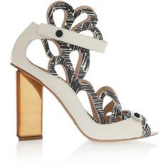 Nicholas Kirkwood Zebra-print laser-cut leather sandals (15 375 UAH) ❤ liked on Polyvore featuring shoes, sandals, white, ankle strap shoes, ankle strap high heel sandals, white ankle strap sandals, white strappy sandals and high heel sandals