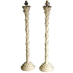 Pair of plaster palm tree lamps by Chapman. Tree Lamp, Plaster, Palm Trees, Floor Lamp, 1960s, Candle Holders, Mid Century, Candles, Diy