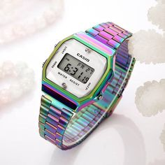 Hot Sales Dazzle Colorful Digital Watches for Women Rainbow Colors Luxury Tornasol Watch with brand logo Reloj de mujer Golden Watch, Rolex Watches For Sale, Fashion Hub, Fitness Watch, Watch Sale, Aesthetic Art, Digital Watch, Casio Watch, Rainbow Colors