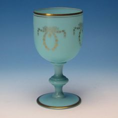 French Portieux Vallerysthal Blue Opaline Glass - Water Goblet with Gold Accents