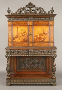 273: American oak and fruitwood marquetry buffet : Lot 273
