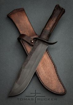 Custom Bowie Knives, Custom Knives, Leather Knife Sheath Pattern, Knife Patterns, Blacksmith Projects, Bushcraft Knives, Medieval Weapons, Forged Knife, Handmade Knives