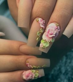 Nail art world goes crazy beyond imagination. Have the best look with these flower nails designs for women 3d Nail Designs, Flower Nail Designs, Nails Design, Rose Nail Design, Rose Nail Art, Rose Nails, 3d Nail Art, Gorgeous Nails, Pretty Nails