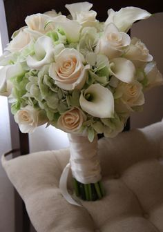 Pale Green Hydrangea, Cream Roses, White Calla Lily Bouquet