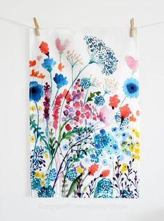 Tea Towel Summer Meadow original design by SenayStudio on Etsy