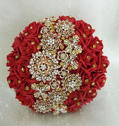 Wedding flowers Asian/indian brides bouquet posie brooch bouquet red gold