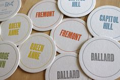 neighborhood coasters @Moontree Letterpress on etsy $15 for 10. Also comes in Paris, NYC, etc.