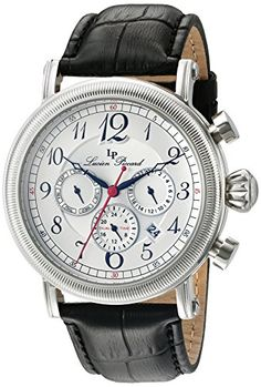 Lucien Piccard Men's 'Capri' Quartz Stainless Steel Leather Band Watch