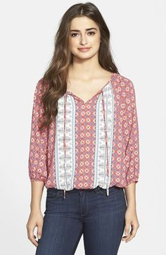 West Kei Split Neck Peasant Top available at #Nordstrom