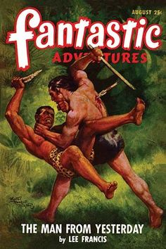 A pulp magazine cover from August 1948 about a mighty warrior from the past fighting for us in the future.