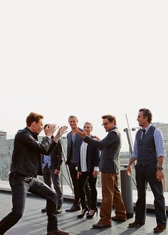 The cast of The Avengers - They're are all so great. But look at Tom and Robert... boys.