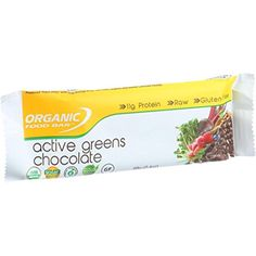 Organic Food Bar - Active Greens - Chocolate Covered - 2.4 oz Bars - Case of 12 ** Learn more by visiting the image link.