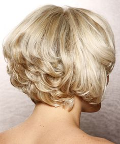 Back View of Short Layered Hairstyles   Formal Short Wavy Hairstyle - Light Blonde Layered - 11906 ...