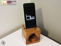 Acoustic speaker wooden i phone stand i phone SE i di HBcotswold