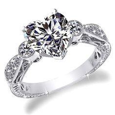 1 CT D-E HEART SHAPE ANTIQUE STYLE ENGRAVE DIAMOND ENGAGEMENT RING