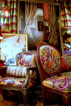 My Bohemian Style. These painted upholstered chairs sold for 1200.00-1600.00. You can order a chair and choose your fabric combinations and chair or order fabric and I can design a combinattion for your chair.