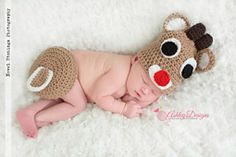 Ravelry: Rudolph Baby Tushy Cover Set pattern by Ashley Designs