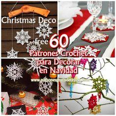Crochet y Dos agujas: 60 Patrones de Copos de Nieve Crochet / Navidad De...