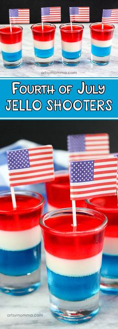 Kids will love helping make these fun red, white, & blue layered jello dessert shooters - a non-alcoholic, kid-friendly version of of July jello shots! Jello Desserts, 4th Of July Desserts, Fourth Of July Food, Jello Recipes, Easy No Bake Desserts, Cheesecake Desserts, 4th Of July Party, July 4th, Blue Desserts