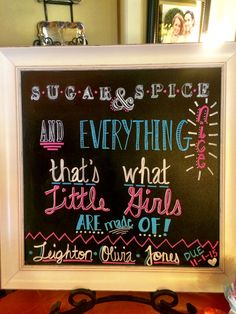 Baby shower chalkboard for a girl