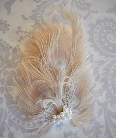 champagne Peacock feather pearl wedding hairpiece