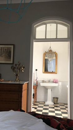 New bathroom view through door (vintage elements) Dream Home Design, My Dream Home, Aesthetic Rooms, Dream Apartment, My New Room, House Rooms, Room Inspiration, Living Spaces, Home Decor