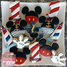 Sailor Birthday, Mickey First Birthday, Second Birthday Ideas, Mickey Mouse Birthday, Dinosaur Birthday, Dinosaur Party, Minnie Mouse, Mickey Mouse Cookies, Mickey Cakes