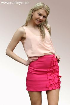 CaeliNYC Le Jardin Collection - Ready to wear,petals skirt, peach top, 100% silk