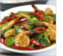 Shrimp, baby bok choy, snow peas, etc stir fry-oyster sauce-sesame oil