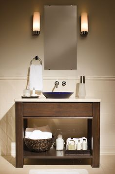 """Contemporary Bathroom Vanity Cabinetry by Dura Supreme shown with a """"Slab"""" drawer in Cherry wood with Mocha finish. Very simple, would work well in our current bathroom. Bathroom Vanity Units, Bathroom Cabinetry, Bathroom Renos, Budget Bathroom, Bathroom Furniture, Modern Bathroom, Master Bathroom, Bathroom Ideas, Basement Bathroom"""