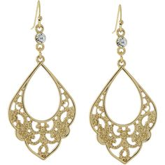 1928 Jewelry Goldtone Crystal Filigree Drop Earrings Clear ($9.89) ❤ liked on Polyvore featuring jewelry, earrings, clear, drop earrings, long earrings, 1928 jewelry, long crystal earrings and long drop earrings