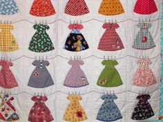 """""""Freda's Hive: Let's Play House Dress Quilt"""" It's so adorable how these dresses are hung on the line."""