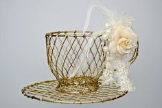 Gold Wire Teacup and Saucer / Gold Centerpiece by MoreFriendsAndCo