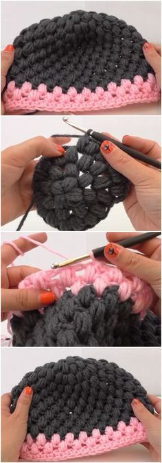 "Crochet Beautiful Beanie Hat Puff Stitch ""Discover thousands of images about Baby Knitting Patterns Crochet Beautiful Beanie Hat Puff Stitch. Love Crochet, Diy Crochet, Crochet Crafts, Crochet Baby, Crochet Projects, Crochet Pattern, Free Pattern, Beautiful Crochet, Crochet Ideas"