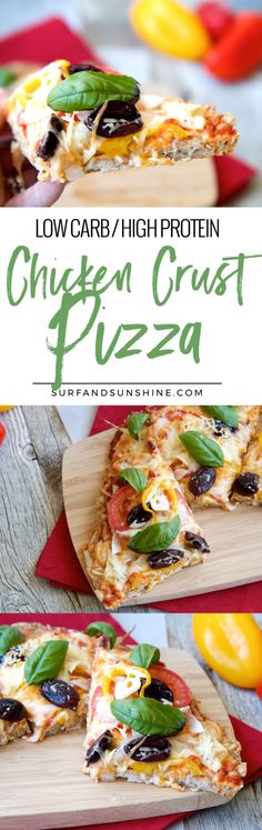 No flour, bread or yeast, this chicken crust pizza recipe is high in protein and low in carbs. Perfect to satisfy your pizza craving without feeling guilty. It took a min for my guests to realize the crust was made of chicken! via @jeanabeena via @jeanabeena