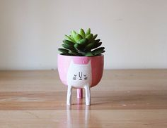 Pink Cat Planter with Three Legs! This small sized pink cat planter is perfect for little plants, herbs or succulents! A great seedling starter pot too. This pink cat planter has three legs and a drainage hole in the bottom. Each piece is thrown on the potters wheel with white, stoneware clay that is sourced in North America. #AD