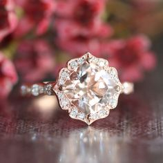 14k Rose Gold Vintage Floral Morganite Engagement Ring Scalloped Diamond Wedding Band 8x8mm Cushion Pink Peach Morganite Ring by LaMoreDesign on Etsy https://www.etsy.com/listing/208658724/14k-rose-gold-vintage-floral-morganite