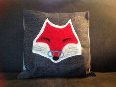 Needlefelted fox on a pure wool felt charcoal colour background. Blue ticking stripe envelope back. To fit cushion pad (not supplied). The cushion cover will be securely packaged and posted via special delivery. Ticking Stripe, Charcoal Color, Cushion Pads, Wool Felt, My Etsy Shop, Fox, Cushions, Throw Pillows, Pure Products