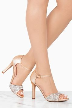 Forever With You - Nude Rhinestone Wedding Shoes, Wedding Shoes Heels, Prom Heels, Beautiful High Heels, Sexy High Heels, Glitter High Heels, Stiletto Heels, Silver Flat Sandals, Gold Ankle Strap Heels