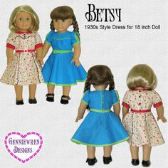 Pattern Overview: The Betsy Dress for 18 inch dolls is typical of the type of dresses worn by both toddlers and older girls in the 1930s and early 1940s, but depending upon your choice of fabric, the dress can look vintage or modern. Both views in this PDF pattern have a bodice