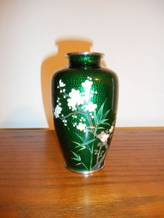 Vintage Japanese Inaba Cloisonne Vase Emerald Green Cherry Blossoms